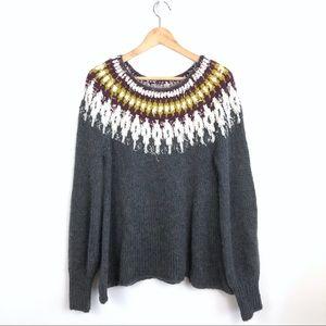 Free People Baltic Fair Isle Bishop Sleeve Sweater